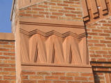 Photograph of detail on the building of the Theodore Roosevelt Elementary School