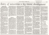 Entry of Minorities a Big Recent Development