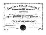 Rockford Female Seminary Department of Music diploma and testimonial, 1878