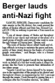 Berger lauds anti-Nazi fight