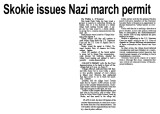 Skokie issues Nazi march permit