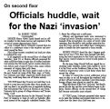 On second floor : Officials huddle, wait for the Nazi 'invasion'