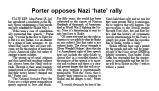 Porter opposes Nazi 'hate' rally