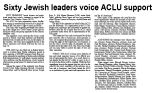 Sixty Jewish leaders voice ACLU support