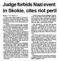 Judge forbids Nazi event in Skokie, cites riot peril