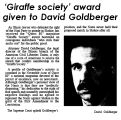 'Giraffe society' award given to David Goldberger