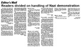 Editor's Mail : Readers divided on handling of Nazi demonstration