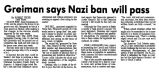 Greiman says Nazi ban will pass