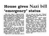 House gives Nazi bill 'emergency' status