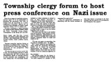 Township clergy forum to host press conference on Nazi issue