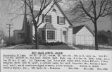 Real estate listing postcard for wood frame Colonial house at 9557 Drake Ave.