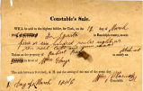 Hayes Misc. Document 18460312, Announcement of Constable Sale