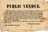 Hayes Misc. Document 18411013, Notice for Hayes Farm Sale