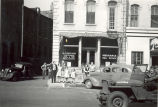 Parades, Sterling, Illinois, Soldiers in Jeep, Wm. T. Galt & Co. Insurance & Real Estate...