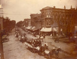 Parades, Sterling, Illinois, Horse & wagons in Business District, Corner of E. 3rd Street...
