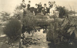 People-Groups, Sterling, Illinois, 7 women posing on bridge, Clara Stager, Jane Dillon, Joy...