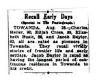 Newspaper article on Towanda's Pioneers