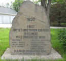 Photograph of marker stone of First United Brethren Church