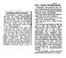 Newspaper obituaries of James McReynolds and Delia Rudisill McReynolds