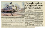 Newspaper article on Towanda railroad crossing arms