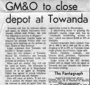 Newspaper article on Towanda Depot closing