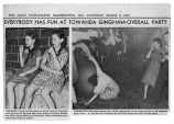 Newspaper article and photographs on Towanda spring gingham-overall party