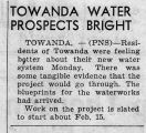 Newspaper article on Towanda's new water system, ca 1940