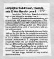 Newspaper article on the Lamplighter Subdivision 25 year Reunion